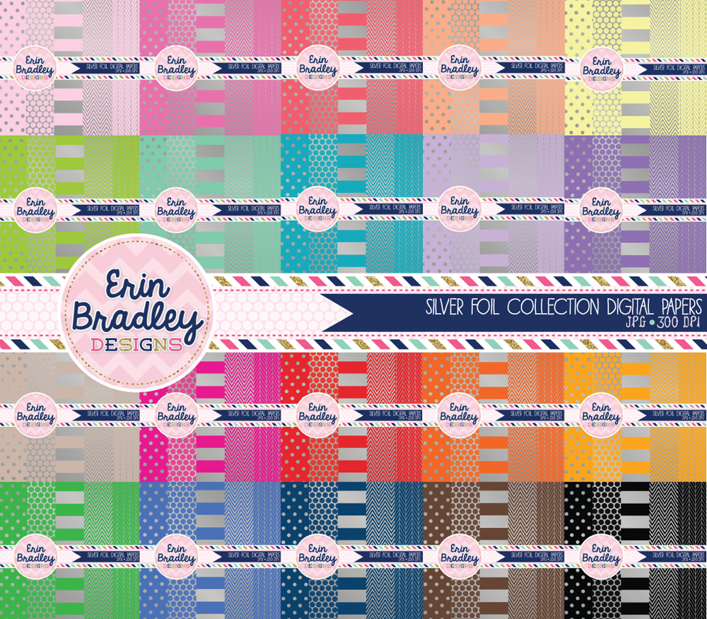 Commercial Use Silver Foil Digital Scrapbook Paper Bundle