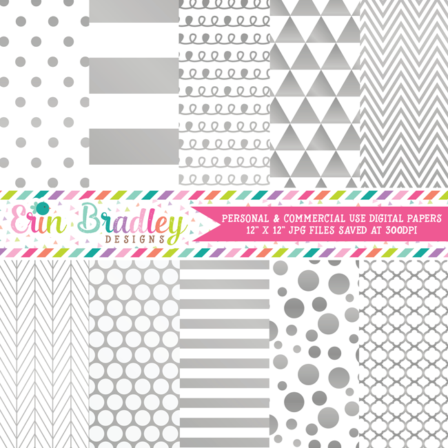 Silver Foil Digital Paper Pack