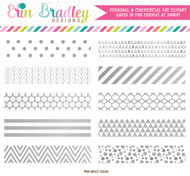 Silver Foil Digital Washi Tape Clipart
