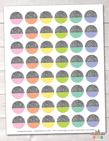 Silver Glitter Circles Printable Planner Stickers