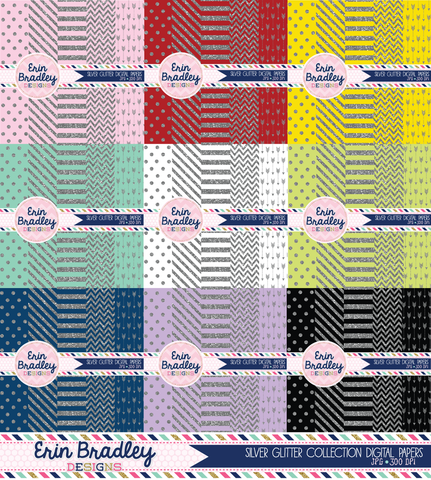 Silver Glitter Digital Paper Pack Bundle Commercial Use OK