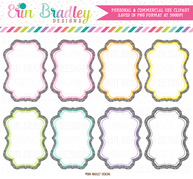 Silver Glitter Frames Clipart – Erin Bradley/Ink Obsession Designs