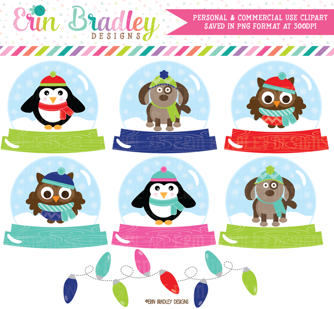 Animal Snow Globes Clipart
