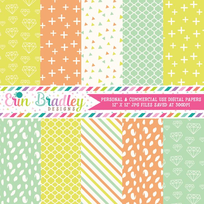 Soft Diamonds Digital Papers