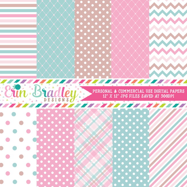 Soft Pink Blue Brown Digital Paper Pack