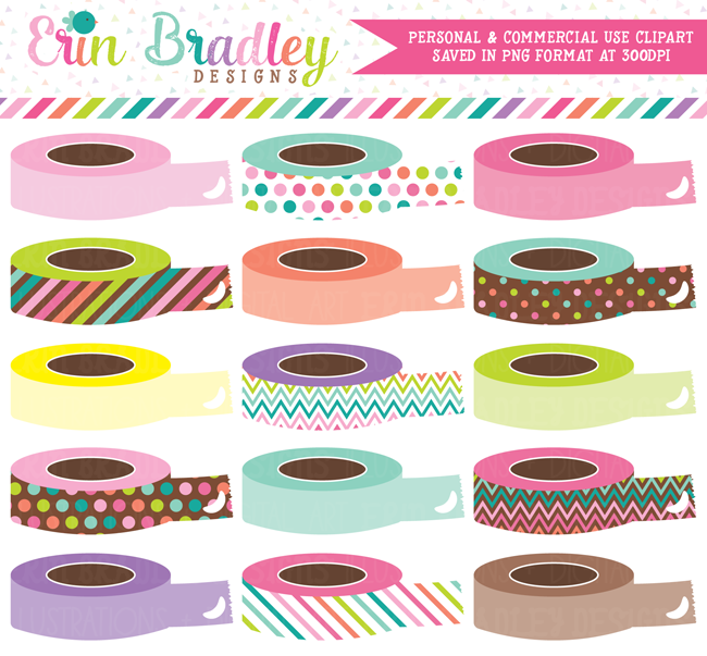 Soft Rainbow Digital Washi Tape Rolls Clipart