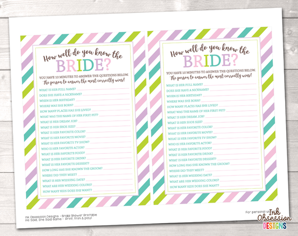 Soft Stripes How Well Do You Know the Bride Printable Bridal Shower Game