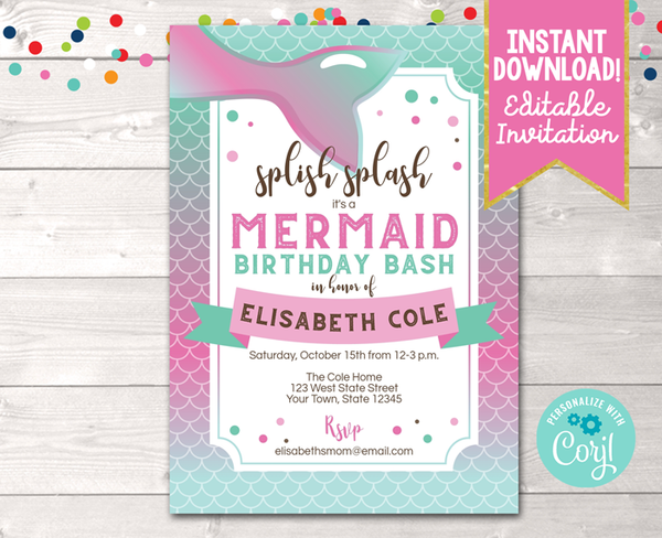 Editable Splish Splash Mermaid Birthday Party Invitation Pink Instant Download Digital File