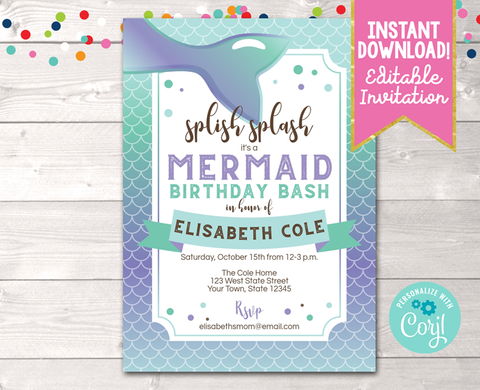 Editable Splish Splash Mermaid Birthday Party Invitation Purple Instant Download Digital File