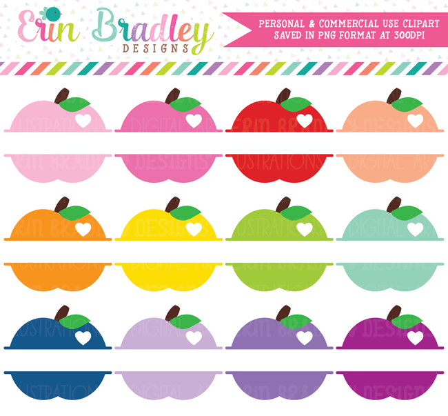 Split Apple Clipart Set