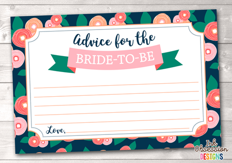 Spring Bloom Printable Advice Cards for Bride to Be