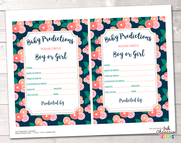 Spring Bloom Baby Predictions Cards