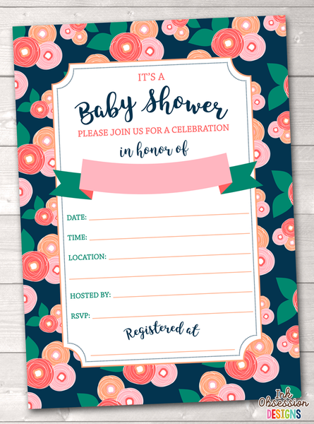 Spring Bloom Baby Shower Invitation Printable PDF