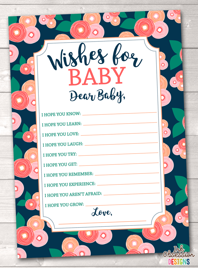 Spring Bloom Printable Baby Wishes Cards