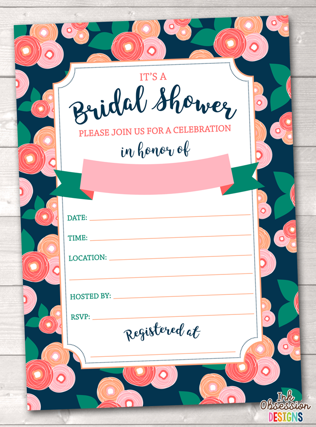 Spring Bloom Bridal Shower Invitation Printable PDF