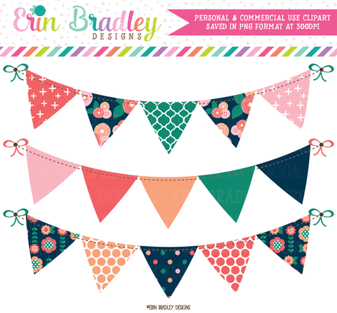 Spring Bloom Bunting Banner Flag Clipart