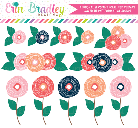 Spring Bloom Flower Doodles Clipart