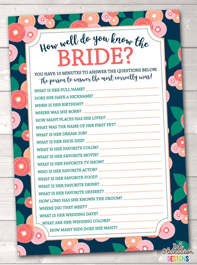 image regarding How Well Do You Know the Bride Printable named Spring Bloom How Perfectly Do Yourself Realize the Bride Printable Bridal Shower Sport