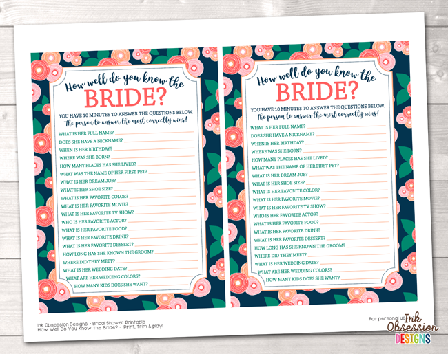 spring bloom how well do you know the bride printable bridal shower game