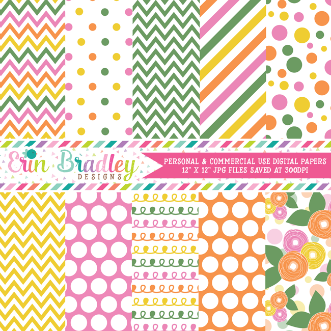 Spring Rain Digital Paper Pack