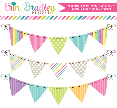 Springtime Bunting Commercial Use Clipart