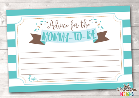 Baby Sprinkle Blue Printable Mommy Advice Cards