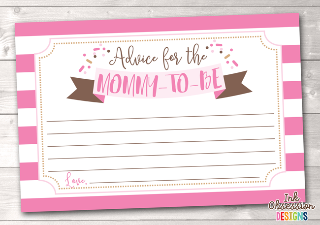 Baby Sprinkle Pink Printable Mommy Advice Cards