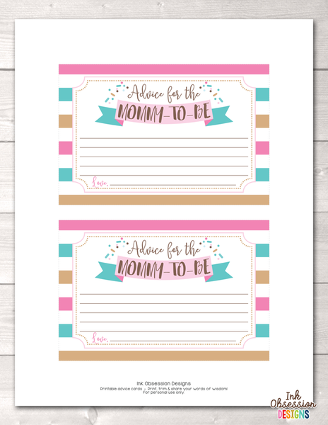 Baby Sprinkle Pink and Blue Mommy Advice Cards
