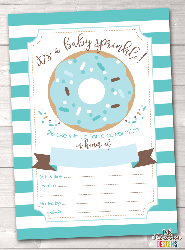 Blue Stripes and Donut Printable Baby Sprinkle Invitation