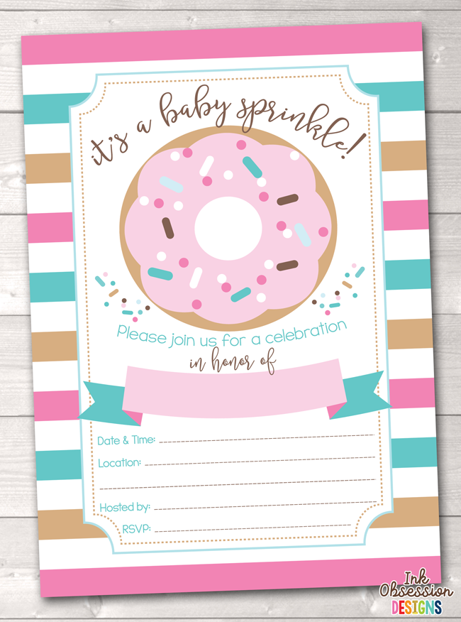 picture about Invitations Printable named Crimson Blue Stripes and Donut Kid Sprinkle Invitation, Kid Shower Invitation Printable PDF