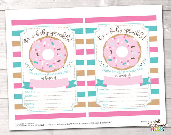 Pink and Blue Stripes Printable Baby Sprinkle Invitation