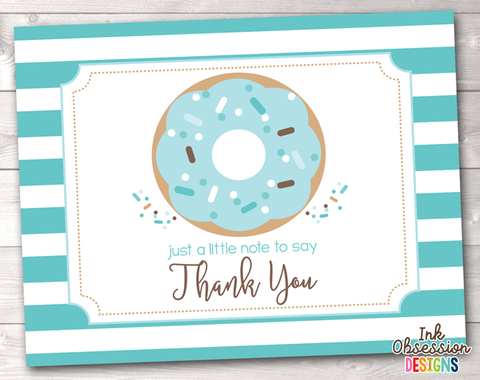 Sprinkle Blue Donut Printable Thank You Cards