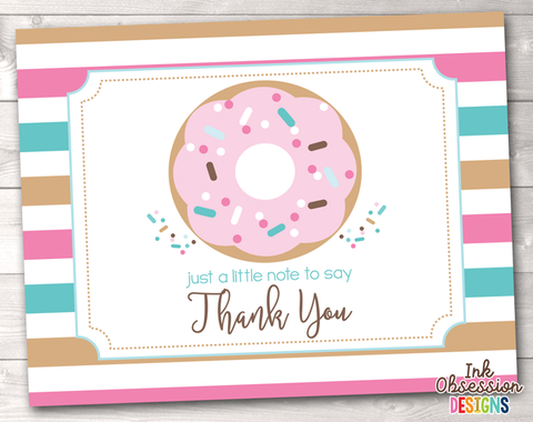 Sprinkle Pink & Blue Donut Printable Thank You Cards