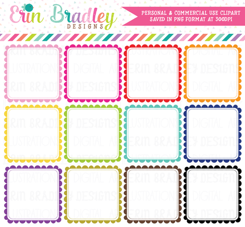 Scalloped Squares Clipart