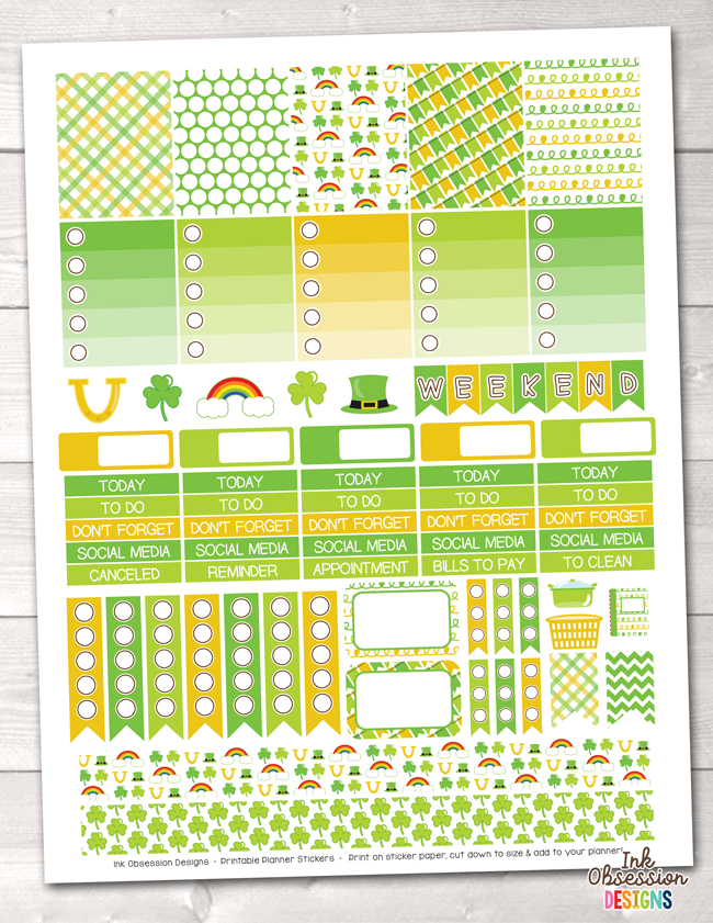 St. Patricks Day Printable Planner Stickers Weekly Kit