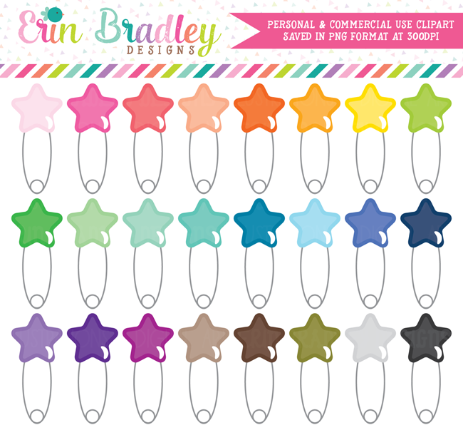 Star Safety Pin Clipart Graphics