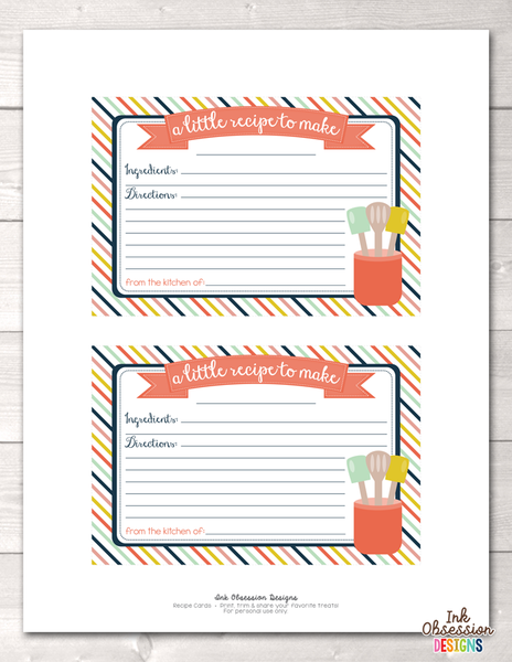 Striped Printable Recipe Cards