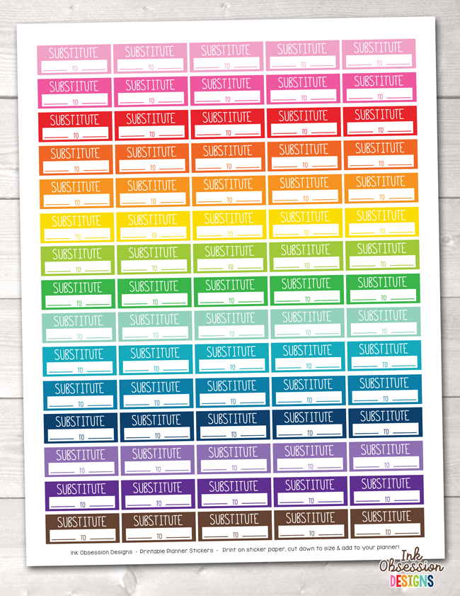 Substitute Teaching Printable Planner Stickers