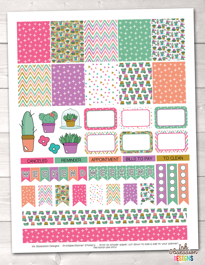 Succulents Printable Planner Stickers Weekly Kit