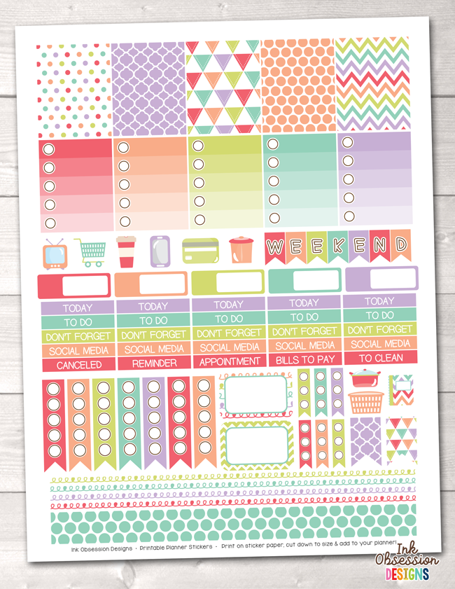 Sugar Collection Printable Planner Stickers Weekly Kit