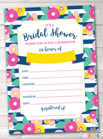 Summer Brights Blue Bridal Shower Invitation Printable PDF