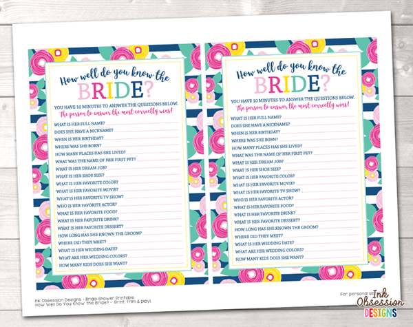 Summer Brights Blue How Well Do You Know the Bride Printable Bridal Shower Game