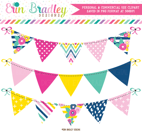 Summer Brights Bunting Banner Flag Clipart