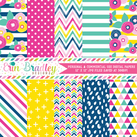 Summer Brights Digital Paper Pack