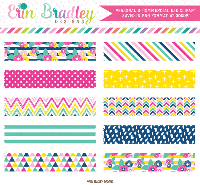Summer Brights Digital Washi Tape Clipart