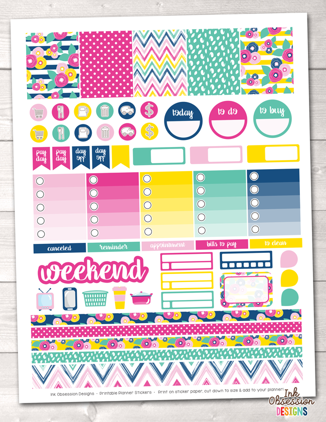 image about Printable Planner Stickers named Summer time Brights Printable Planner Stickers Weekly Package