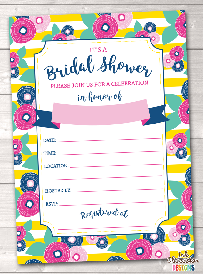 Summer Brights Yellow Bridal Shower Invitation Printable PDF
