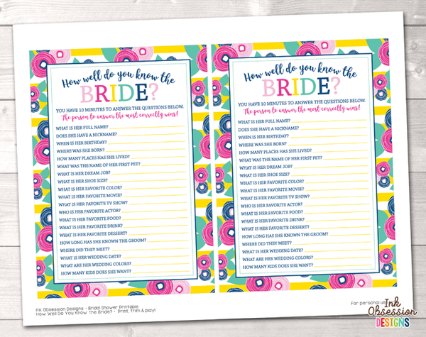 Summer Brights Yellow How Well Do You Know the Bride Printable Bridal Shower Game
