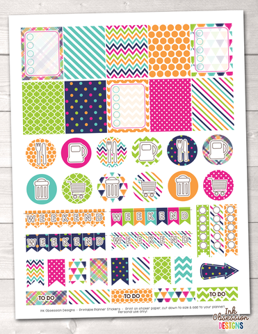 Colorful Printable Planner Stickers Weekly Kit Instant Download PDF
