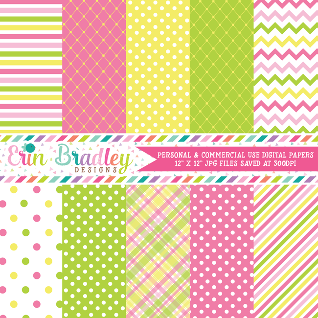 Summertime Pink Yellow Green Digital Scrapbooking Paper